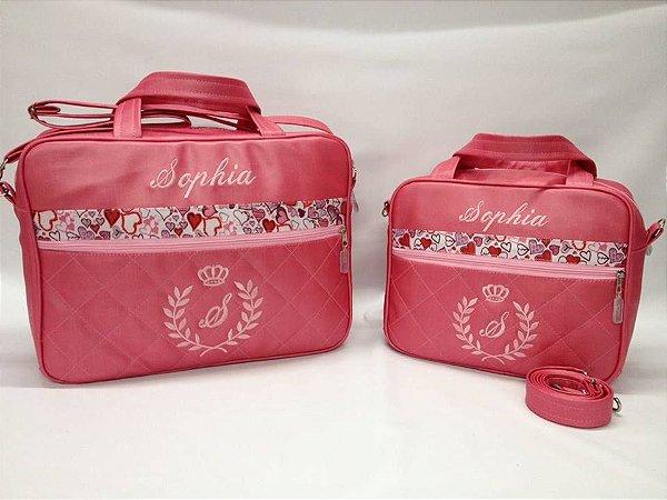 6a22517641 Kit Bolsas Maternidade Linha Baby Super Luxo Rosa Pink - RJB Kids