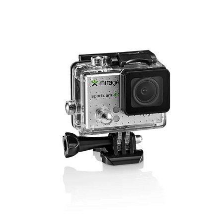 Câmera de Ação Sport 4K tela LCD 2 pol Sport 16MP + Cartão 16GB Prata Mirage MR3001