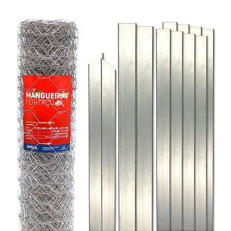 Kit Cerca Tela Hexagonal Mangueirão fio 1,65mm malha 7,6cm, Postes e Acessórios - 25m