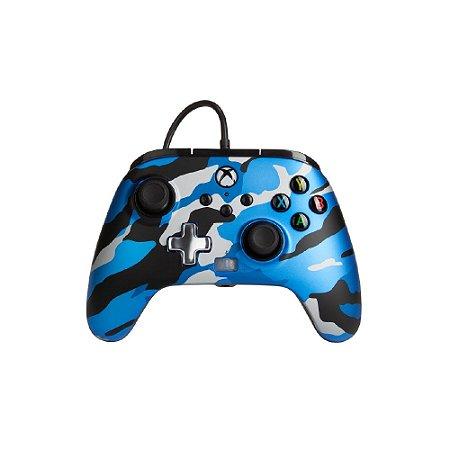 Controle PowerA Enhanced Wired Metallic Blue Camo - Xbox