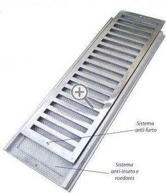 Grelha Aluminio Reta c/Porta Grelha e Tela