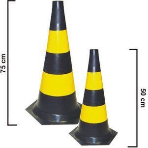 Cone Pvc Preto e Amarelo