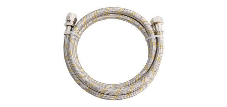 Engate Flexivel p/Gas Aço - Femea 1/2'' e Adaptador para Espigão 3/8''