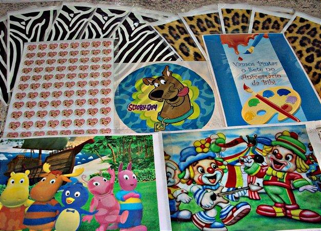 Folhas impressas  com desenhos (atacado) 50 unidades