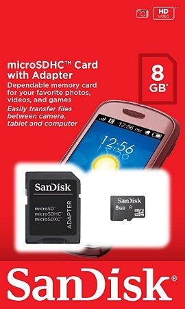 Cartão Micro SD 8Gb com adaptador - SanDisk
