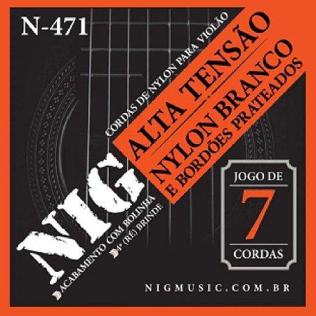 NIG - Para violão corda de Nylon branco - Bordões prateados / Jogo de 7 cordas