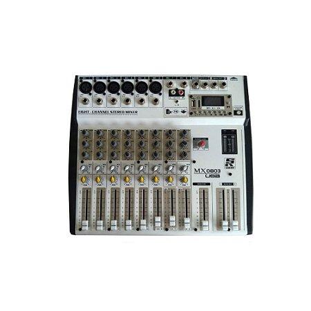 Mesa de Som Misturador Staner MX-0803 USB 8 Canais