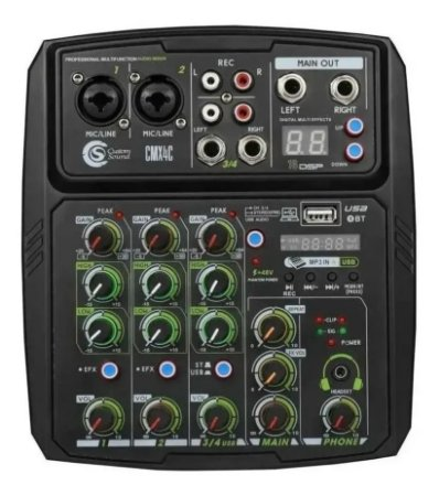 Mesa De Som Custom Sound Cmx 4c - Mixer Black