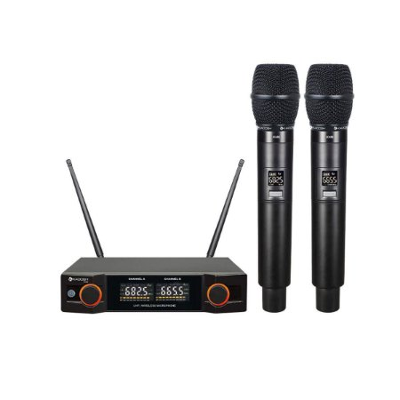 Microfone kadosh kdsw-402m sem fio duplo uhf
