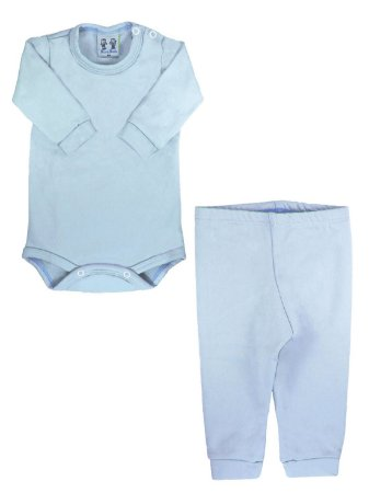 Conjunto Body e Calça Bebê Rosebud Ultramicro Thermo Azul Claro