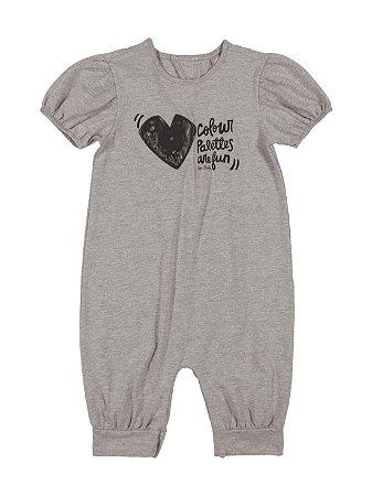 Macaquinho Infantil Up Baby Curta em Cotton Heart Cinza