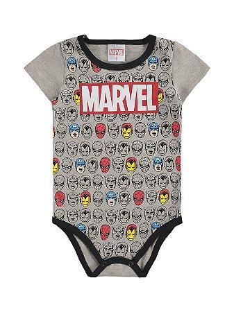 Body para Bebê Marlan Curta Marvel Vingadores Cinza