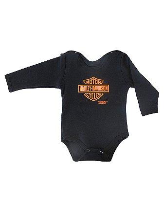 Body Divertido para Bebê Harley Davidson Manga Longa