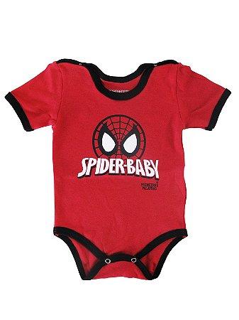 Body Divertido para Bebê Spider Baby Manga Curta