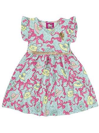 Vestido Laços em malha Jacquard Hello Kitty