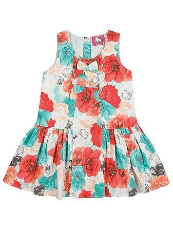 Vestido em popeline acetinada Floral Hello Kitty