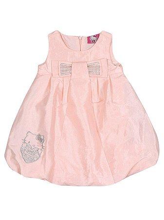 Vestido em tafetá e popeline rosa Hello Kitty