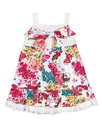 Vestido Flowers de alças Hello Kitty