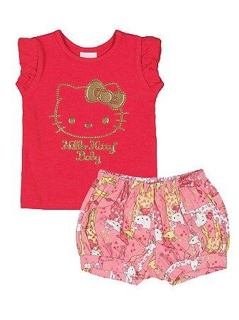 Conjunto Blusa e Shorts Girafinha Hello Kitty ::: ÚLTIMA PEÇA ::: Tam. G
