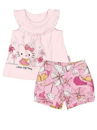 Conjunto Blusa e Shorts catavento Hello Kitty