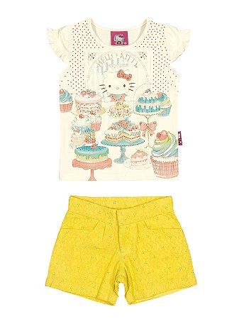 Conjunto Blusa e Shorts Candy Shop Hello Kitty