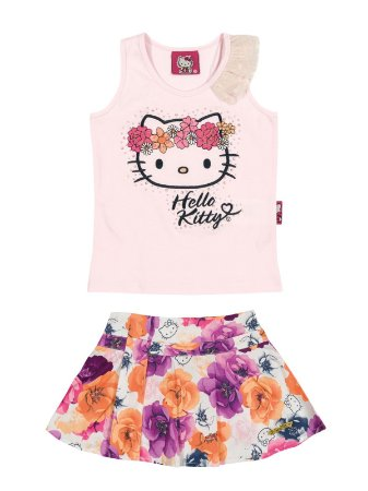 Conjunto Regata e Shorts Saia Floral Hello Kitty