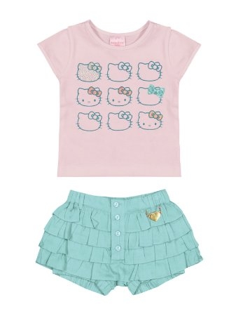 Conjunto Blusa e Shorts Saia Babadinho Hello Kitty