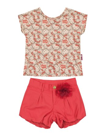 Conjunto Blusa e Shorts Hello Kitty