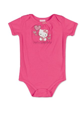 Body Manga Curta Pink Baby Hello Kitty