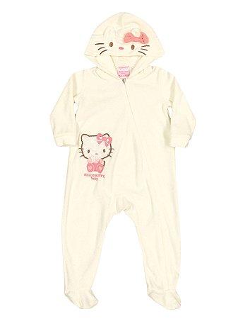 Macacão em Plush com capuz Hello Kitty