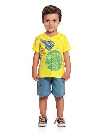 Conjunto Camiseta e Bermuda Foguete Loopy de Loop
