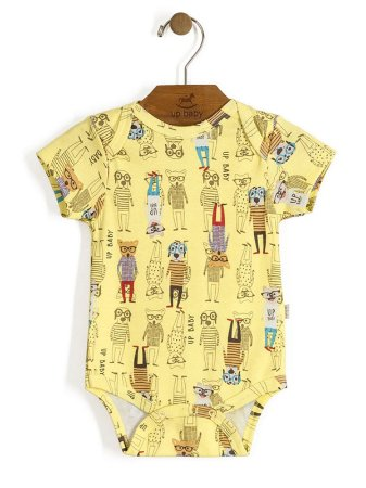 Body Manga Curta Vintage Dogs Amarelo Up Baby
