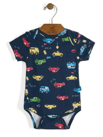 Body Manga Curta Vintage Carros Azul Up Baby