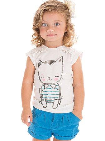Conjunto Blusa e Short Cat Up Baby