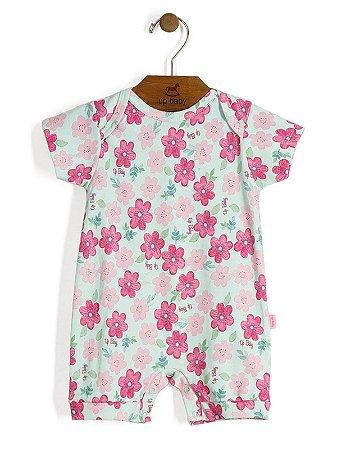 Macaquinho Shine Floral Rosa Up Baby