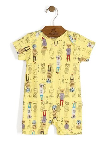 Macaquinho Vintage Dogs Amarelo Up Baby