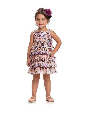 Vestido com Alças em Chiffon Floral Lilas Quimby