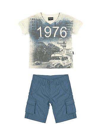 Conjunto 1976 Camiseta em Malha Flamê e Bermuda em Popeline Quimby