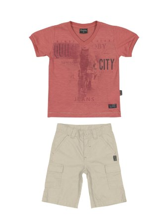 Conjunto City Camiseta Malha Flamê e Bermuda Popeline Quimby