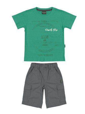 Conjunto Clothing Camiseta Malha Flamê e Bermuda Popeline Quimby