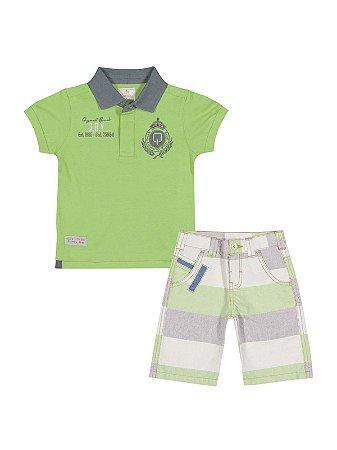 Conjunto Golf Club Camisa Polo Malha e Bermuda Sarja Fio Tinto Quimby