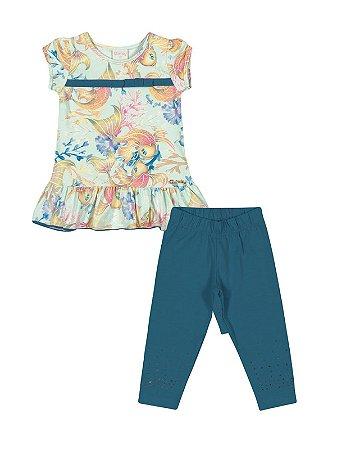 Conjunto Peixes Blusa e Legging em Cotton Light Quimby