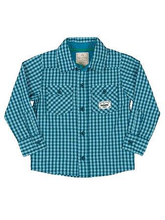 Camisa Xadrez Azul Manga Longa em Tricoline Quimby