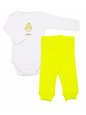 Conjunto Body e Calça em Algodão Friends Amarelo Be Little
