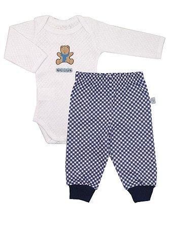 Conjunto Body e Calça em Algodão My Bear Azul Be Little