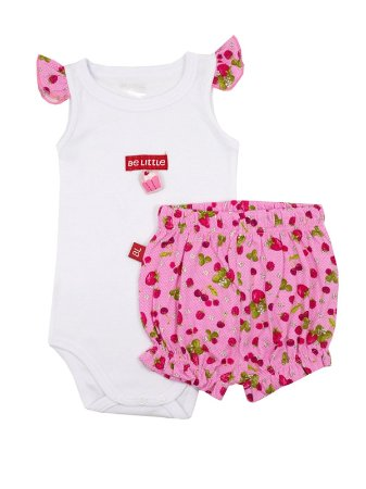 Conjunto Body Regata Cup Cake e Shorts Be Little