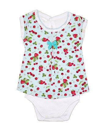 Body Vestido Strawberries Azul Be Little