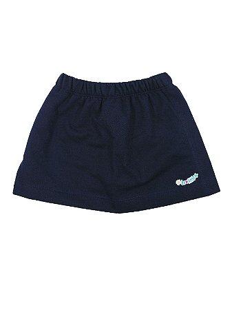 Shorts Saia em Moletinho Azul Marinho Be Little