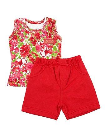 Conjunto Regata e Shorts Fresh Flower Vermelho Be Little