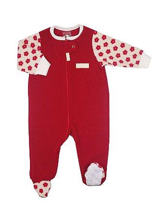 Pijama Macacão em Plush com Zíper Moon Vermelho Be Little